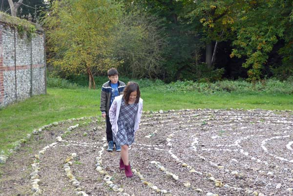 Children Walking the Labyrinth